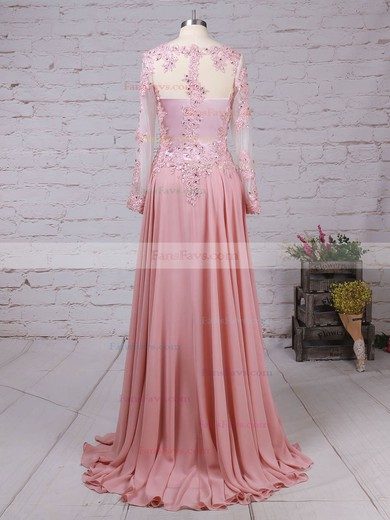 A-line V-neck Chiffon Tulle Sweep Train Beading Prom Dresses #Favs020105065
