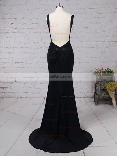 Sheath/Column V-neck Jersey Sweep Train Draped Prom Dresses #Favs020105069