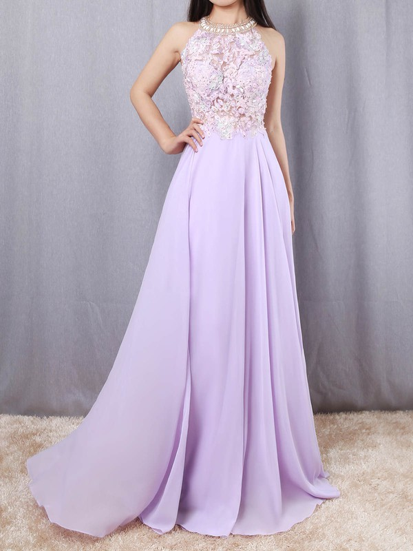 A-line Scoop Neck Chiffon Tulle Sweep Train Beading Prom Dresses #Favs020105074