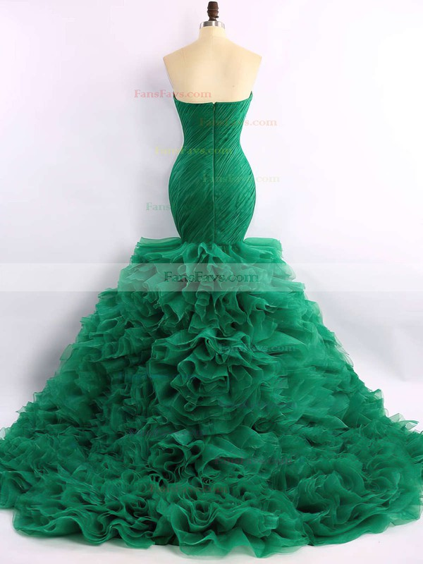 Trumpet/Mermaid Sweetheart Court Train Organza Prom Dresses with Ruffle #Favs020101683
