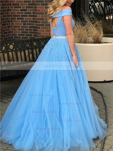 Princess Off-the-shoulder Satin Tulle Floor-length Beading Prom Dresses #Favs020105077