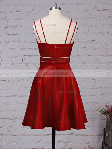 A-line V-neck Satin Short/Mini Pockets Prom Dresses #Favs020105080