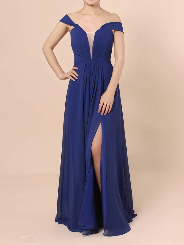 A-line Off-the-shoulder Chiffon Floor-length Ruffles Prom Dresses #Favs020105083