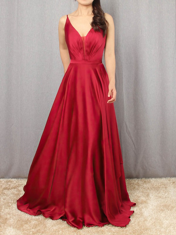 A-line V-neck Satin Chiffon Floor-length Sashes / Ribbons Prom Dresses #Favs020105086