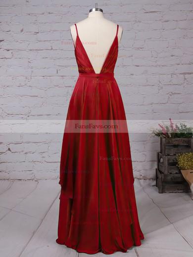 A-line V-neck Satin Chiffon Floor-length Sashes / Ribbons Prom Dresses #Favs020105086