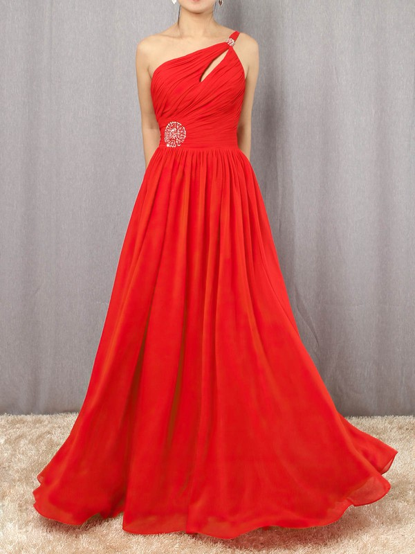 A-line One Shoulder Chiffon Floor-length Beading Prom Dresses #Favs020105090