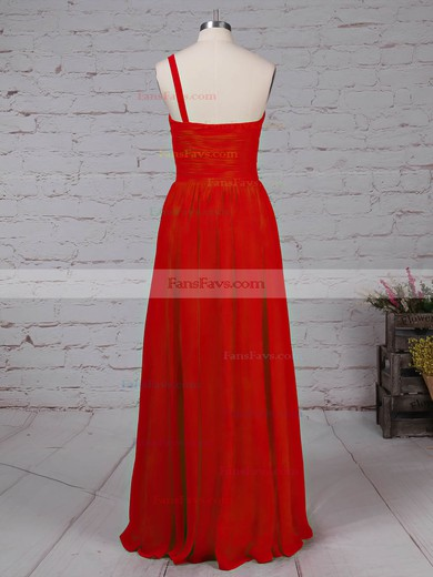 A-line One Shoulder Chiffon Floor-length Beading Prom Dresses #Favs020105090