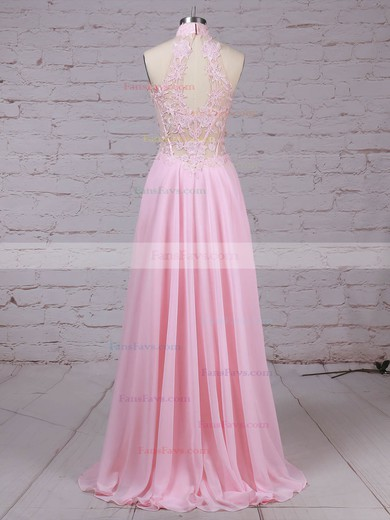 A-line High Neck Chiffon Tulle Floor-length Appliques Lace Prom Dresses #Favs020105092