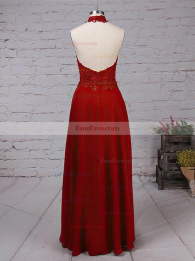 A-line Halter Chiffon Floor-length Appliques Lace Prom Dresses #Favs020105094