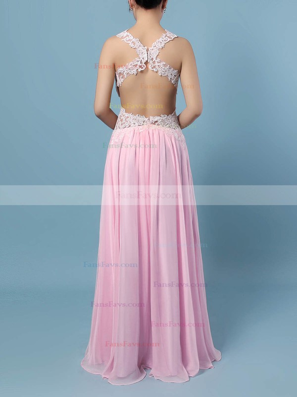A-line V-neck Chiffon Floor-length Appliques Lace Prom Dresses #Favs020105095