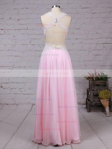 A-line V-neck Chiffon Floor-length Appliques Lace Prom Dresses #Favs020105095