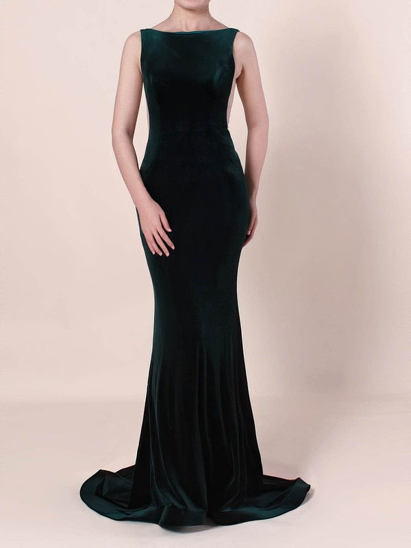 Trumpet/Mermaid Scoop Neck Tulle Velvet Sweep Train Prom Dresses #Favs020105097