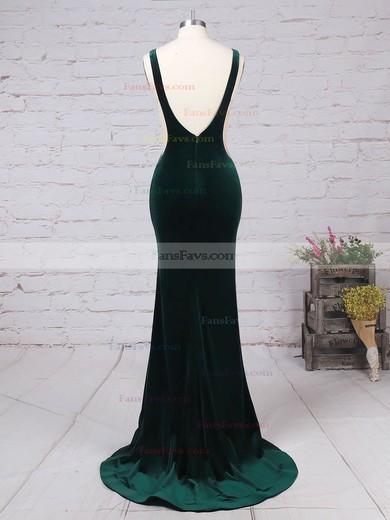 Trumpet/Mermaid Scoop Neck Velvet Sweep Train Prom Dresses #Favs020105097