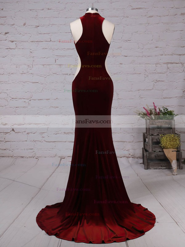 Trumpet/Mermaid High Neck Velvet Sweep Train Prom Dresses #Favs020105098