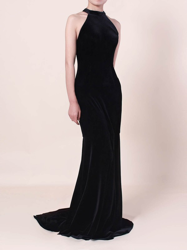 Trumpet/Mermaid High Neck Velvet Sweep Train Prom Dresses #Favs020105100