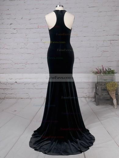 Trumpet/Mermaid High Neck Velvet Sweep Train Prom Dresses #Favs020105100