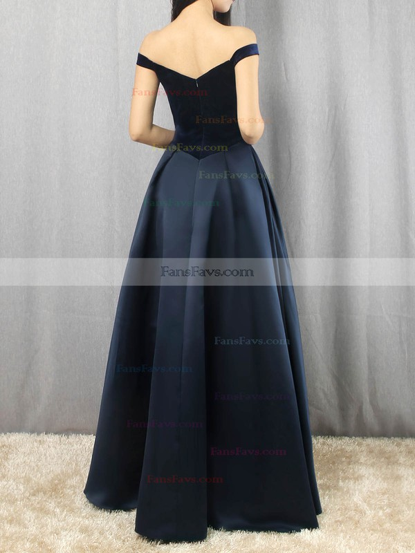 Princess Off-the-shoulder Satin Velvet Floor-length Draped Prom Dresses #Favs020105101