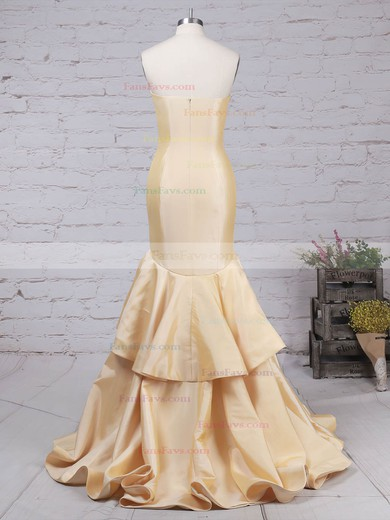 Trumpet/Mermaid V-neck Taffeta Sweep Train Tiered Prom Dresses #Favs020105103