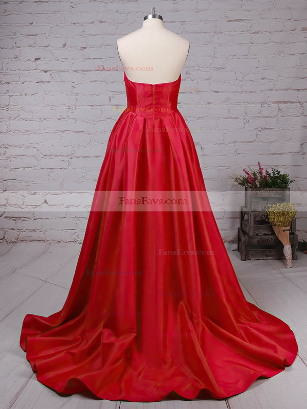 Ball Gown Sweetheart Satin Sweep Train Ruched Prom Dresses #Favs020105104