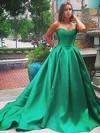 Ball Gown Sweetheart Satin Sweep Train Prom Dresses #Favs020105104