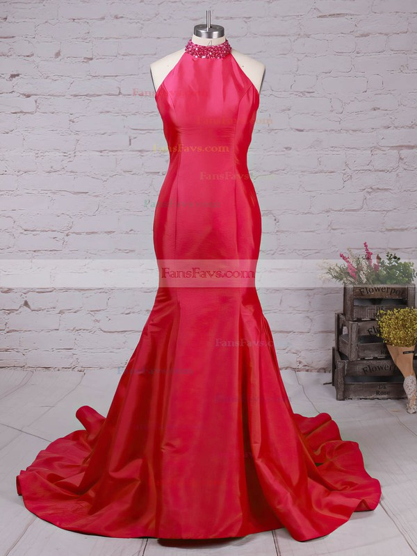 Trumpet/Mermaid High Neck Taffeta Sweep Train Beading Prom Dresses #Favs020105105