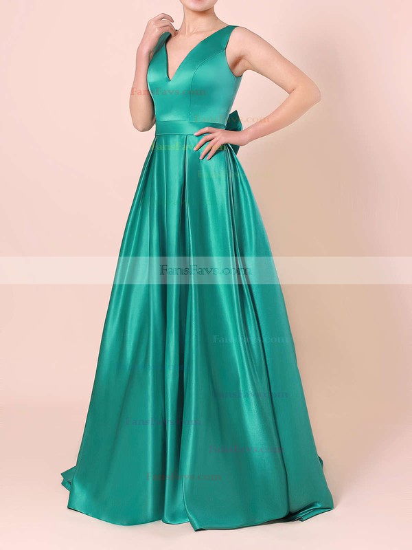 Princess V-neck Satin Sweep Train Bow Prom Dresses #Favs020105106