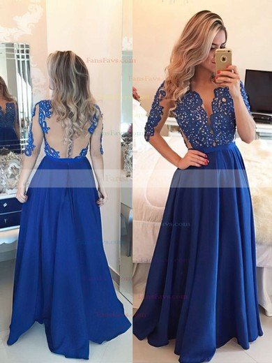 A-line Scoop Neck Floor-length Chiffon Prom Dresses with Appliques Lace Sashes #Favs020101864