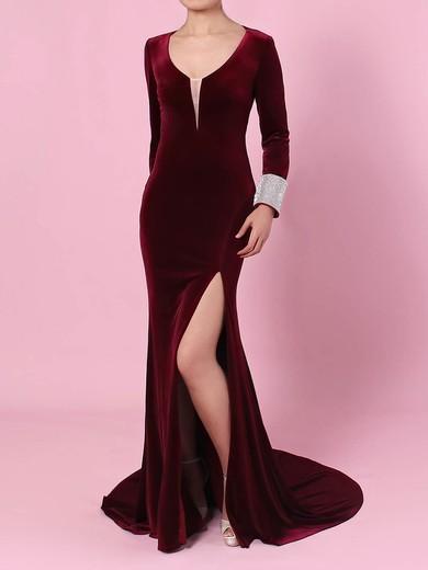 Trumpet/Mermaid V-neck Velvet Sweep Train Beading Prom Dresses #Favs020105108