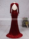 Sheath/Column V-neck Velvet Sweep Train Beading Prom Dresses #Favs020105108