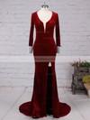 Sheath/Column V-neck Velvet Sweep Train Beading Prom Dresses #Favs020105108