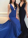 Trumpet/Mermaid V-neck Jersey Sweep Train Prom Dresses #Favs020105110