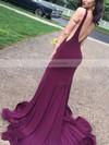 Trumpet/Mermaid V-neck Jersey Sweep Train Prom Dresses #Favs020105110
