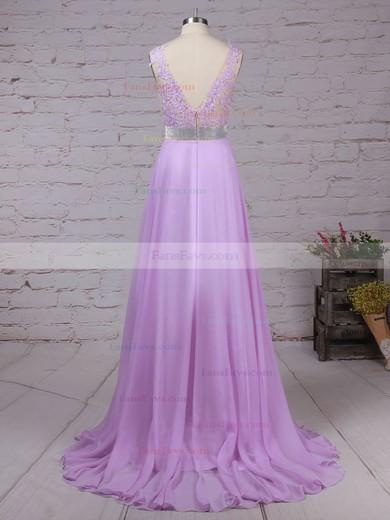 A-line V-neck Chiffon Floor-length Beading Prom Dresses #Favs020105118