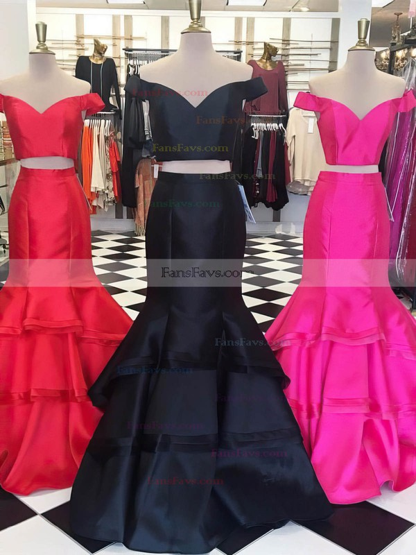 Trumpet/Mermaid Off-the-shoulder Satin Organza Sweep Train Tiered Prom Dresses #Favs020105124