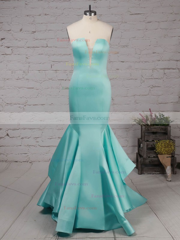 Trumpet/Mermaid Strapless Satin Sweep Train Draped Prom Dresses #Favs020105127