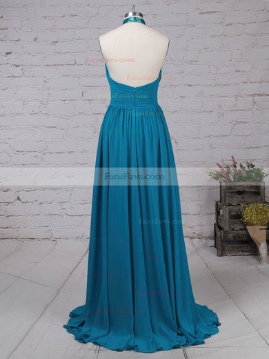 A-line Halter Chiffon Sweep Train Ruched Prom Dresses #Favs020105130