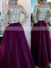 A-line Scoop Neck Organza Floor-length Beading Prom Dresses #Favs020101877