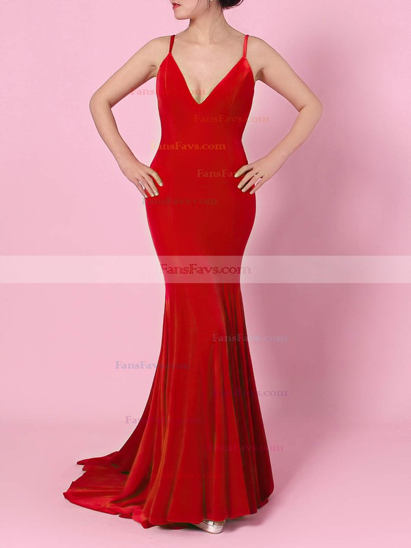 Trumpet/Mermaid V-neck Velvet Sweep Train Prom Dresses #Favs020105134