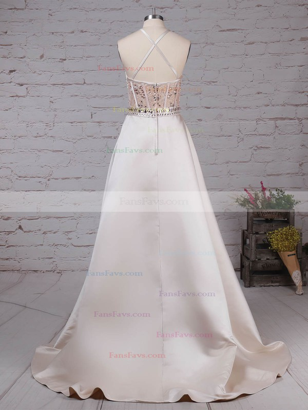 Ball Gown Scoop Neck Satin Sweep Train Beading Prom Dresses #Favs020105136