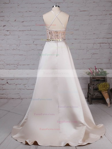 Ball Gown Scoop Neck Satin Tulle Sweep Train Beading Prom Dresses #Favs020105136