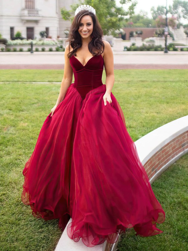 Princess V-neck Organza Velvet Sweep Train Prom Dresses #Favs020105825