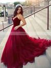 Princess V-neck Organza Velvet Sweep Train Prom Dresses #Favs020105825