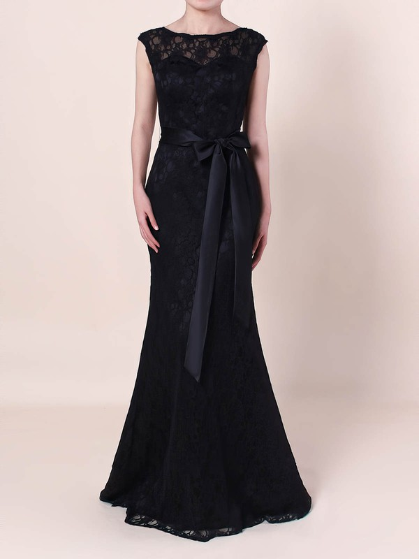 Sheath/Column Scoop Neck Lace Floor-length Sashes / Ribbons Prom Dresses #Favs020105828