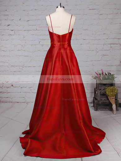 Princess V-neck Satin Sweep Train Draped Prom Dresses #Favs020105830
