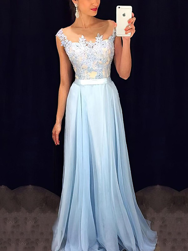 d603021b7193 A-line Scoop Neck Floor-length Chiffon Prom Dresses with Appliques Lace  Beading #