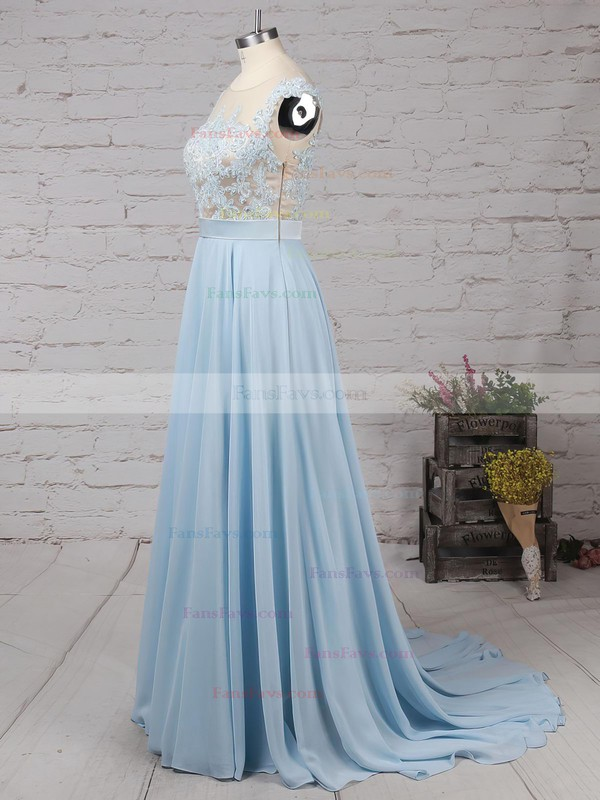 A-line Scoop Neck Chiffon Floor-length Appliques Lace Prom Dresses #Favs020101989