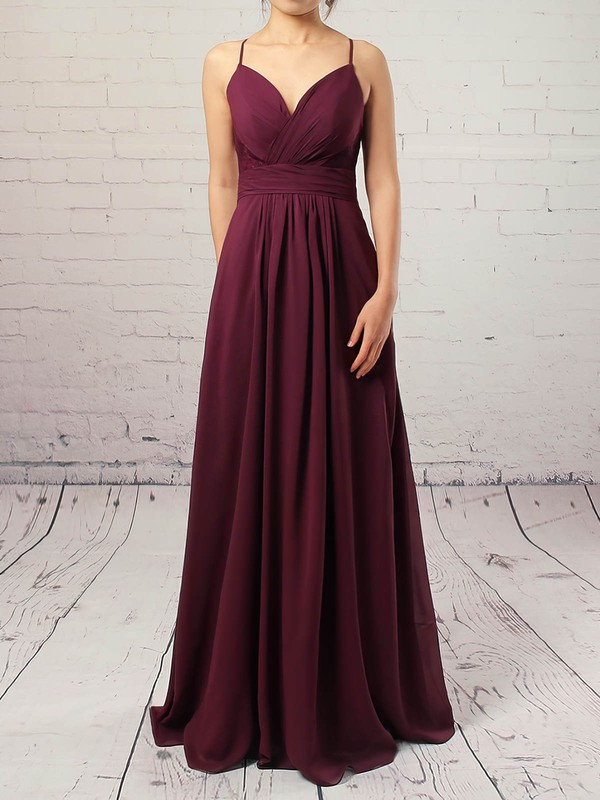 A-line V-neck Chiffon Floor-length Appliques Lace Prom Dresses #Favs020105832