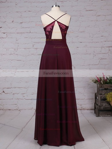 A-line V-neck Chiffon Floor-length Appliques Lace Prom Dresses #Favs020105832