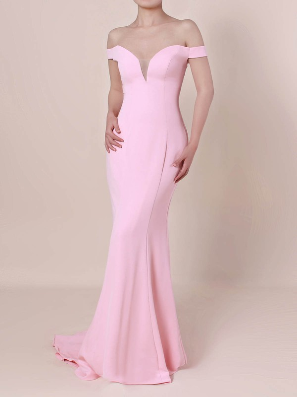 Trumpet/Mermaid Off-the-shoulder Silk-like Satin Sweep Train Draped Prom Dresses #Favs020105833