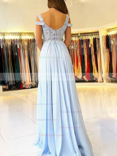 A-line V-neck Chiffon Tulle Floor-length Beading Prom Dresses #Favs020105842